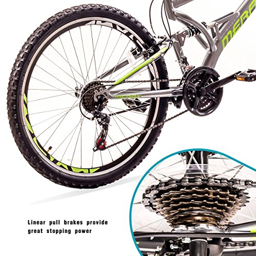 Falcon-26-Mountain-Bike-21-Speed-with-Full-Dual-Suspension-Lightweight-Aluminum-Frame-Mountain-Bicycle-for-Adults-Boys-Gray-0-2