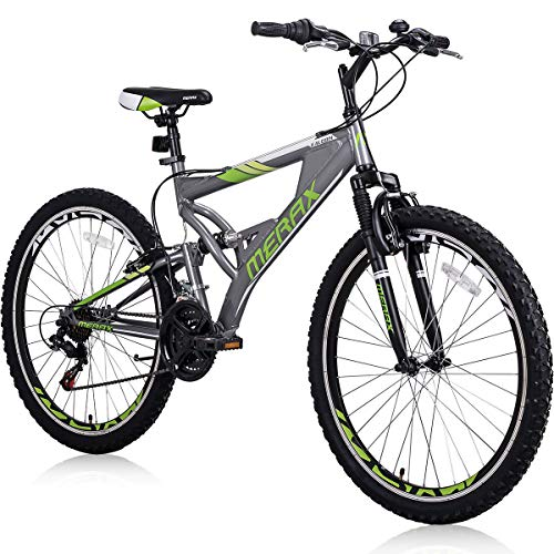 Falcon-26-Mountain-Bike-21-Speed-with-Full-Dual-Suspension-Lightweight-Aluminum-Frame-Mountain-Bicycle-for-Adults-Boys-Gray-0