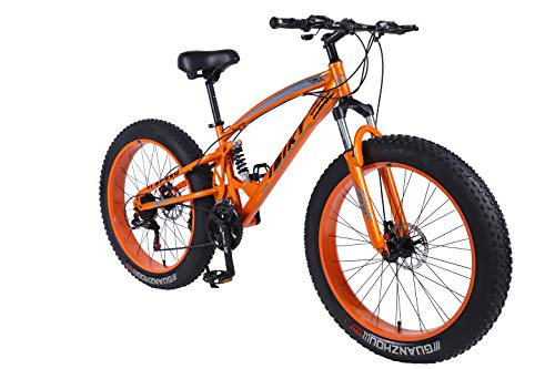 IBIKY-26-inch-Mountain-BikeHybrid-Fat-Tire-Snow-Bicycle-with-21-Speed-and-SuspensionDual-Disc-Brake-Orange-0