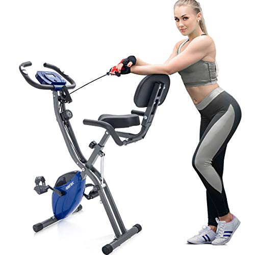 Merax-3-in-1-Adjustable-Folding-Exercise-Bike-Convertible-Magnetic-Upright-Recumbent-Bike-with-Arm-Bands-BlueGray-0