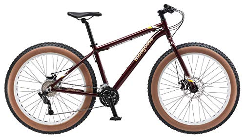 Mongoose-Vinson-Fat-Tire-Mountain-Bike-Featuring-Rigid-18-Inch-Aluminum-Frame-24-Speed-ShimanoSRAM-X4-Drivetrain-Dual-Mechanical-Disc-Brakes-and-Alloy-26x4-Inch-Wheels-Burgundy-Renewed-0