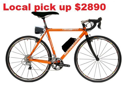 Motobecane-Fast-Electric-Bike-48V-17ah-50Mile-2-x-10-speed-Range-carbon-fork-street-racing-700C-orange-205-frame-hill-climber-0