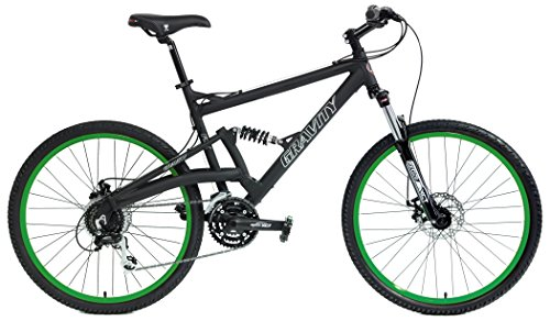 2018-FSX-20-Dual-Full-Suspension-Mountain-Bike-Gravity-Suntour-Matt-Black-with-Green-Wheels-19inch-0