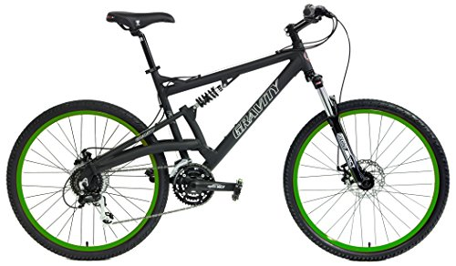 2020-Gravity-FSX-20-Dual-Full-Suspension-Mountain-Bike-with-Disc-Brakes-Matt-Black-with-Green-Wheels-15inch-0