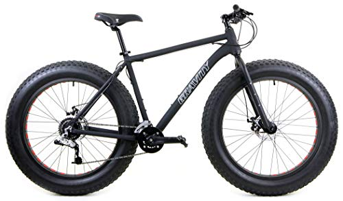 Aluminum-Fat-Bike-Gravity-Bullseye-Monster-Five-with-Powerful-Disc-Brakes-Fat-Tire-Bicycle-26-x-49-Matt-Black-20-fits-Most-61-to-63-0