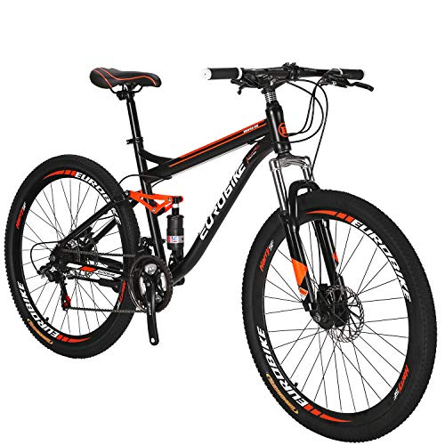 Eurobike-Full-Suspension-Mountain-Bike-21-Speed-Bicycle-275-inches-Mens-MTB-Disc-Brakes-Orange-Aluminum-Alloy-Rims-0