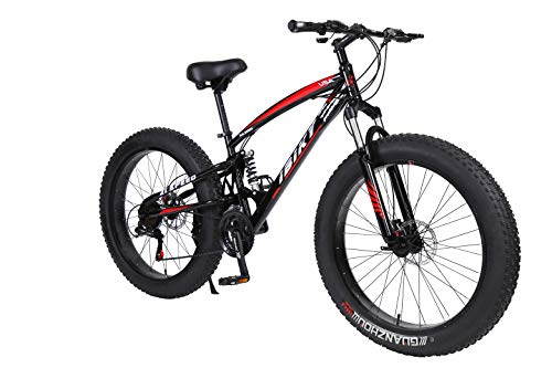 IBIKY-26-inch-Mountain-BikeHybrid-Fat-Tire-Snow-Bicycle-with-21-Speed-and-SuspensionDual-Disc-Brake-Black-0