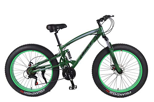 IBIKY-26-inch-Mountain-BikeHybrid-Fat-Tire-Snow-Bicycle-with-21-Speed-and-SuspensionDual-Disc-Brake-Green-0