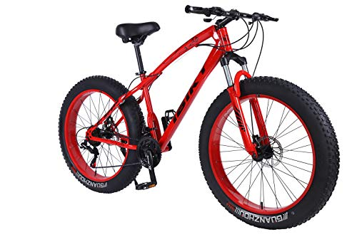 Ibiky-26-Inch-Wheel-21-Speed-40-Fat-Tire-Bike-Snow-and-Grass-Sand-Bicycle-Mountain-Bikewith-Powerful-Disc-Brakes-Fatbike-Red-0