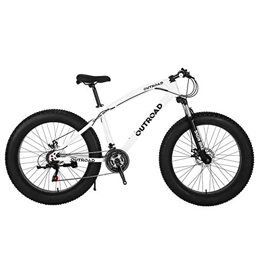 Max4out-Fat-Tire-Mountain-Bike-21-Speed-26-inch-Shining-SYS-Double-Disc-Brake-Suspension-Fork-Rear-Suspension-Anti-Slip-Bikes-White-0