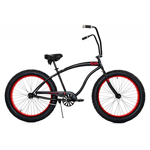 Micargi-Slugo-A-Series-Beach-Cruiser-Bike-Black-with-Red-Rims-Fat-Tire-40-Chopper-Style-0