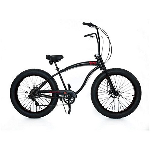 Micargi-Slugo-SS-26-Fat-Tire-7-Speed-Cruiser-Bicycle-w-Hi-RISE-Handlebar-Black-0