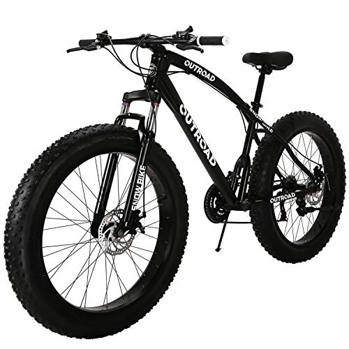 Outroad-Fat-Tire-Mountain-Bike-Snow-Bike-26-inch-21-Speed-Grass-Sand-Bicycle-Black-0