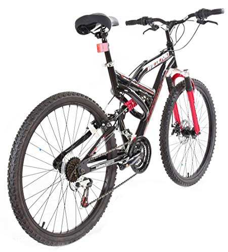 Tetran-Wildland-26-Inch-Mountain-Bike-Alloy-Frame-Rims-and-Suspensions-21-Speed-with-Shimano-Tourney-Unisex-WhiteBlue-and-BlackRed-BlackRed-0-0