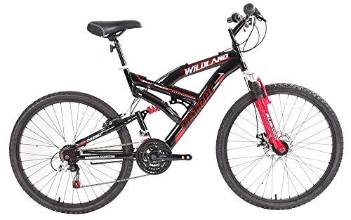 Tetran-Wildland-26-Inch-Mountain-Bike-Alloy-Frame-Rims-and-Suspensions-21-Speed-with-Shimano-Tourney-Unisex-WhiteBlue-and-BlackRed-BlackRed-0-1