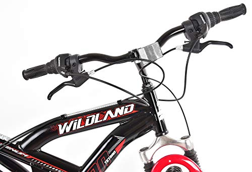 Tetran-Wildland-26-Inch-Mountain-Bike-Alloy-Frame-Rims-and-Suspensions-21-Speed-with-Shimano-Tourney-Unisex-WhiteBlue-and-BlackRed-BlackRed-0-2
