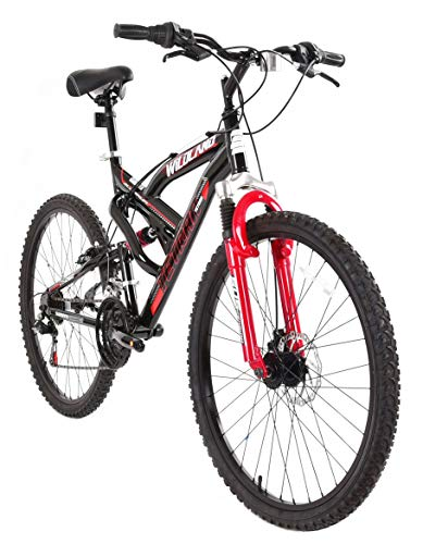 Tetran-Wildland-26-Inch-Mountain-Bike-Alloy-Frame-Rims-and-Suspensions-21-Speed-with-Shimano-Tourney-Unisex-WhiteBlue-and-BlackRed-BlackRed-0