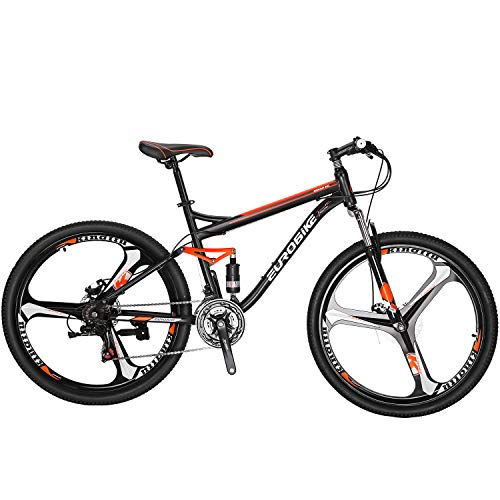 Eurobike-Full-Suspension-Mountain-Bike-21-Speed-Bicycle-275-inches-Mens-MTB-Disc-Brakes-Orange-3-Spoke-mag-Wheels-0