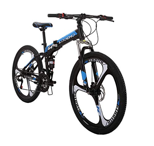 LOOCHO-21-Speed-Foldable-Mountain-Bike-26-Inches-3-Spoke-Wheel-Dual-Suspension-Dual-Disc-Brake-MTB-Tire-Bicycle-Blue-0-0