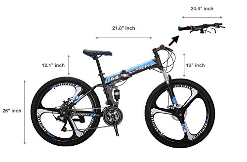 LOOCHO-21-Speed-Foldable-Mountain-Bike-26-Inches-3-Spoke-Wheel-Dual-Suspension-Dual-Disc-Brake-MTB-Tire-Bicycle-Blue-0-1