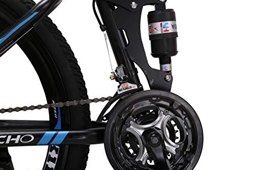 LOOCHO-21-Speed-Foldable-Mountain-Bike-26-Inches-3-Spoke-Wheel-Dual-Suspension-Dual-Disc-Brake-MTB-Tire-Bicycle-Blue-0-3
