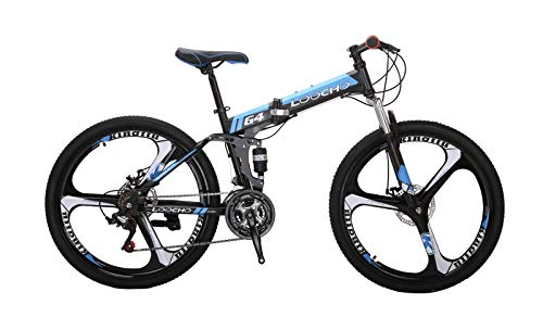 LOOCHO-21-Speed-Foldable-Mountain-Bike-26-Inches-3-Spoke-Wheel-Dual-Suspension-Dual-Disc-Brake-MTB-Tire-Bicycle-Blue-0