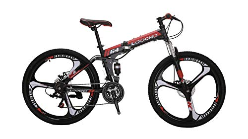 LOOCHO-21-Speed-Foldable-Mountain-Bike-26-Inches-3-Spoke-Wheel-Dual-Suspension-Dual-Disc-Brake-MTB-Tire-Bicycle-red-0-0