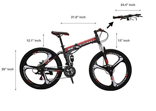LOOCHO-21-Speed-Foldable-Mountain-Bike-26-Inches-3-Spoke-Wheel-Dual-Suspension-Dual-Disc-Brake-MTB-Tire-Bicycle-red-0-1