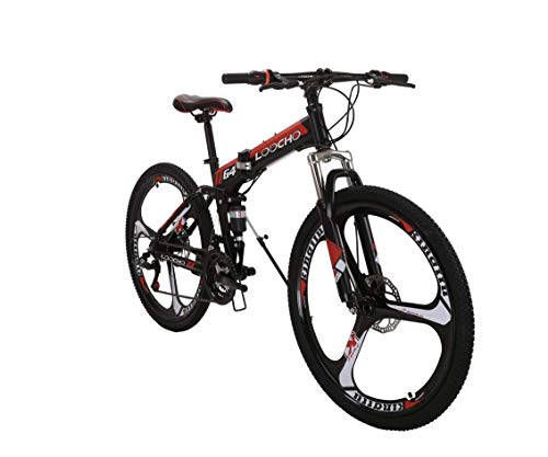 LOOCHO-21-Speed-Foldable-Mountain-Bike-26-Inches-3-Spoke-Wheel-Dual-Suspension-Dual-Disc-Brake-MTB-Tire-Bicycle-red-0
