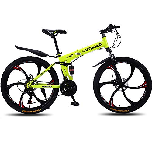 Max4out-Mountain-Bike-Folding-Bikes-Featuring-6-Spoke-21-Speed-Shining-SYS-Double-Disc-Brake-Fork-Rear-Suspension-Anti-Slip-Yellow-26-in-0