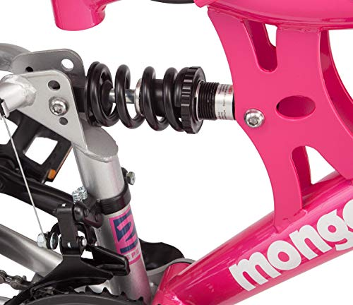 Mongoose-Exlipse-Full-Dual-Suspension-Mountain-Bike-for-Kids-Featuring-15-InchSmall-Steel-Frame-and-21-Speed-Shimano-Drivetrain-with-24-Inch-Wheels-Kickstand-Included-Pink-Renewed-0-3