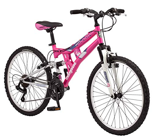 Mongoose-Exlipse-Full-Dual-Suspension-Mountain-Bike-for-Kids-Featuring-15-InchSmall-Steel-Frame-and-21-Speed-Shimano-Drivetrain-with-24-Inch-Wheels-Kickstand-Included-Pink-Renewed-0