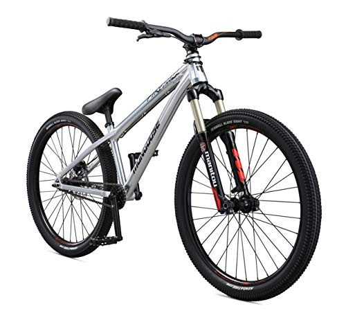 Mongoose-Fireball-SS-Dirt-Jump-Mountain-Bike-with-26-Inch-Wheels-in-Chrome-Manitou-Circus-Expert-Suspension-Fork-Tectonic-T1-Aluminum-Frame-Single-Speed-Drivetrain-and-Hydraulic-Disc-Brake-0