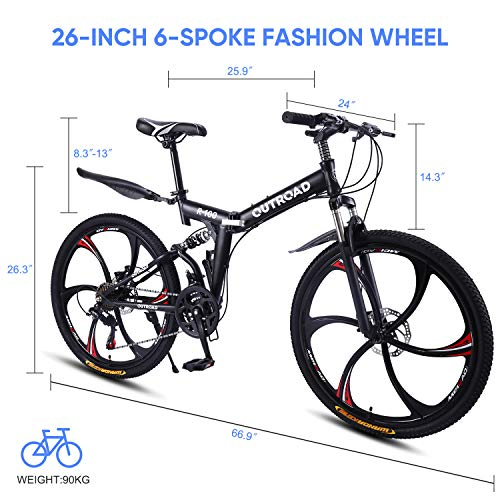 Outroad-Mountain-Bike-6-Spoke-21-Speed-Double-Disc-Brake-Folding-Bike-Black26in-0-0
