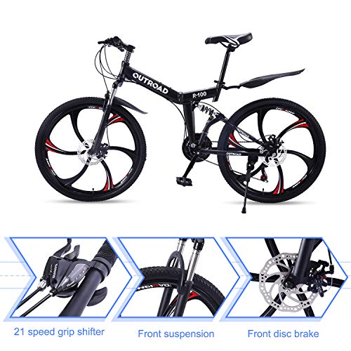 Outroad-Mountain-Bike-6-Spoke-21-Speed-Double-Disc-Brake-Folding-Bike-Black26in-0-2