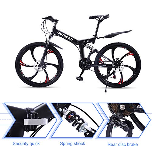 Outroad-Mountain-Bike-6-Spoke-21-Speed-Double-Disc-Brake-Folding-Bike-Black26in-0-3