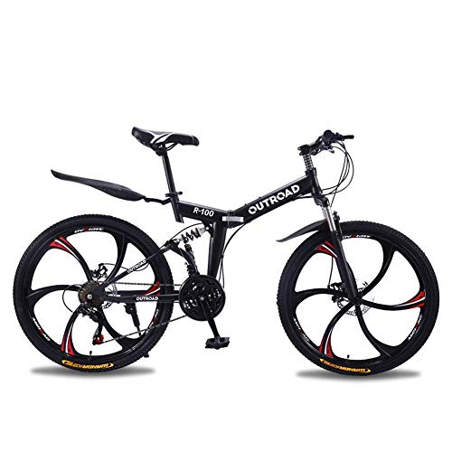 Outroad-Mountain-Bike-6-Spoke-21-Speed-Double-Disc-Brake-Folding-Bike-Black26in-0