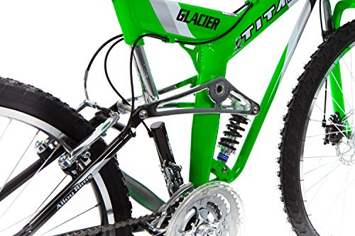 Titan-Glacier-Pro-Alloy-Dual-Suspension-All-Terrain-Mens-Mountain-Bicycle-Neon-Green-19-Frame-0-3