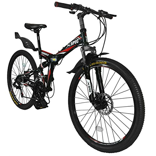 Xspec-26-21-Speed-Folding-Mountain-Bike-for-Adult-Shimano-Black-26-0-1