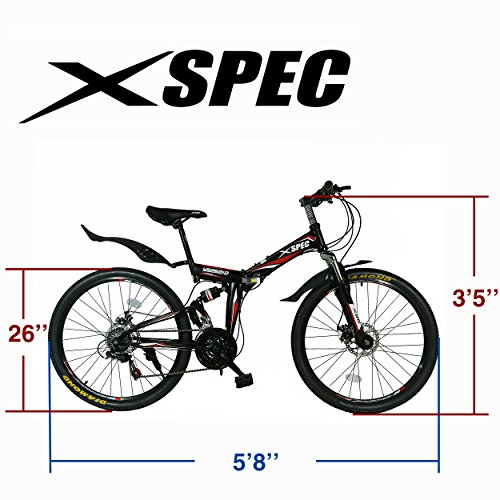 Xspec-26-21-Speed-Folding-Mountain-Bike-for-Adult-Shimano-Black-26-0-2