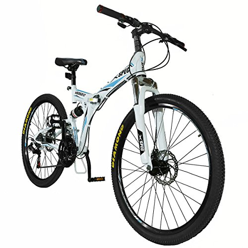 Xspec-26-21-Speed-Folding-Mountain-Bike-for-Adult-Shimano-White-26-0-1
