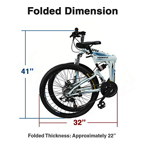 Xspec-26-21-Speed-Folding-Mountain-Bike-for-Adult-Shimano-White-26-0-2
