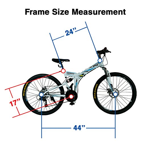 Xspec-26-21-Speed-Folding-Mountain-Bike-for-Adult-Shimano-White-26-0-3