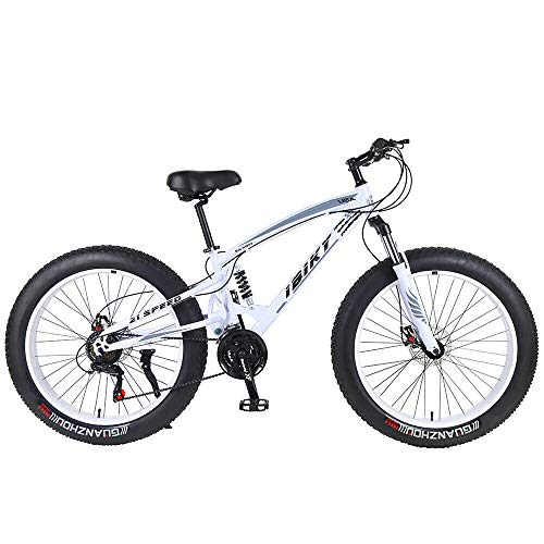 ibiky-26-inch-Mountain-BikeHybrid-Fat-Tire-Snow-Bicycle-with-21-Speed-and-SuspensionDual-Disc-Brake-White-0-0