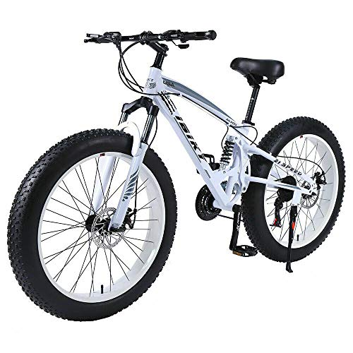 ibiky-26-inch-Mountain-BikeHybrid-Fat-Tire-Snow-Bicycle-with-21-Speed-and-SuspensionDual-Disc-Brake-White-0-1