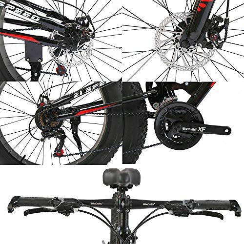 ibiky-26-inch-Mountain-BikeHybrid-Fat-Tire-Snow-Bicycle-with-21-Speed-and-SuspensionDual-Disc-Brake-White-0-3
