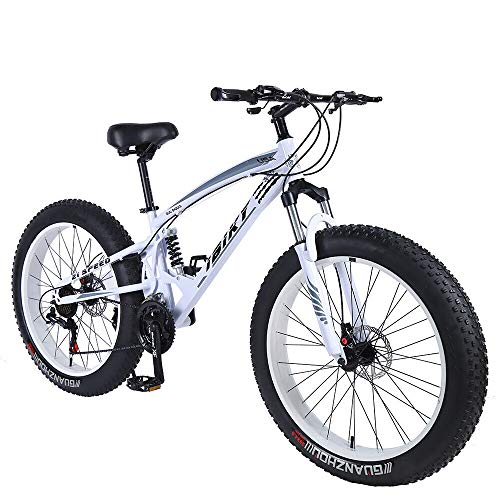 ibiky-26-inch-Mountain-BikeHybrid-Fat-Tire-Snow-Bicycle-with-21-Speed-and-SuspensionDual-Disc-Brake-White-0